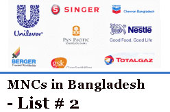 MNCs in Bangladesh - List # 2