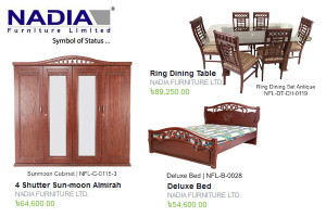 Nadia Furniture Almirah Bed Dining Table
